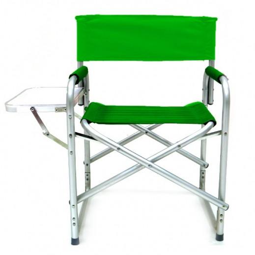 كرسي رحلات البر قابل للطي مع سنادة طاولة - أخضر