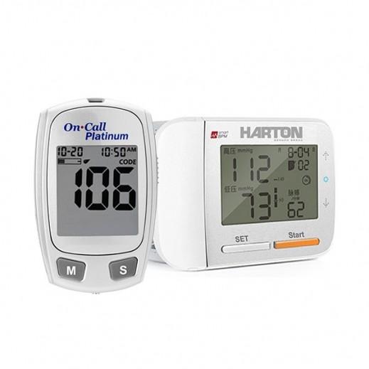 هارتون - جهاز قياس ضغط الدم من الرسغ موديل YE8900 + جهاز قياس السكر من أون كول