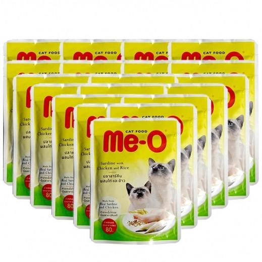مي أو – طعام القطط البالغة سردين مع الدجاج والأرز 24×80 جم