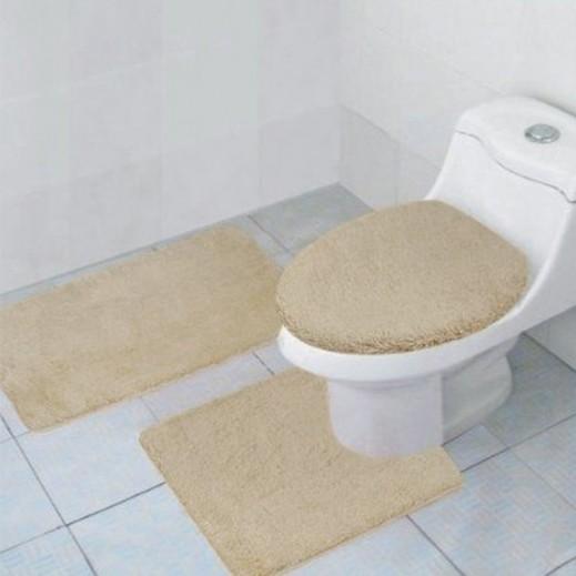 طقم سجاد حمام بيج ساده 3 قطع