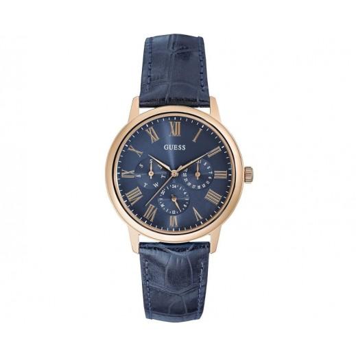جس –  ساعة يد رجالي بحزام جلد ذهبي /أزرق - يتم التوصيل بواسطة Beidoun