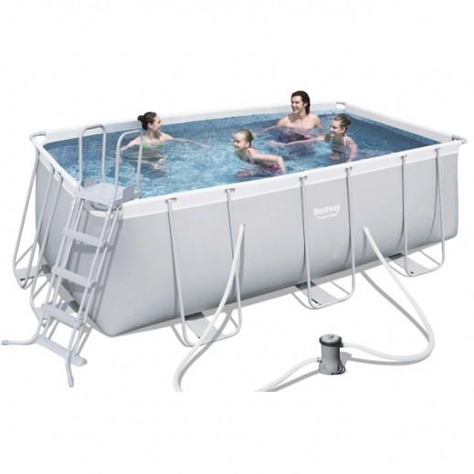 بست واي – حمام سباحة مستطيل الشكل من الاستانلس استيل القوي رمادي 412 × 201 سم    - يتم التوصيل بواسطة النصر الرياضي خلال 3 أيام عمل