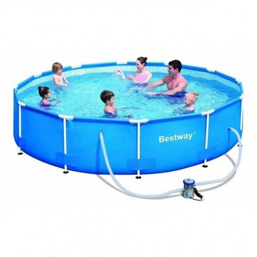 بست واي – حمام سباحة اطار استيل أزرق 366 × 76 سم - يتم التوصيل بواسطة Al-Nasser Sports