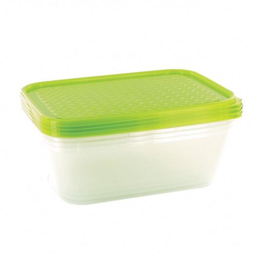 سوبريم – طقم صناديق لحفظ الأطعمة وسط – أخضر (4 حبة)