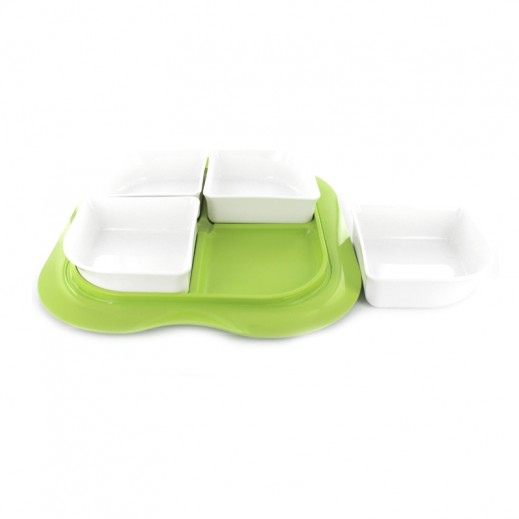 ستيلو - صينية بأوعية مع غطاء للفواكه الجافة والمكسرات – شكل مربع بلون أخضر