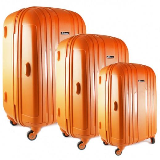 """سكوربيو – طقم حقائب السفر """"Hard"""" – 3 حبة برتقالي"""