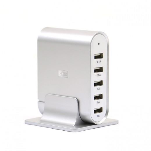 كيس لوجيك – منصة شحن USB تحتوي علي 5 منافذ 7.1 امبير – فضي