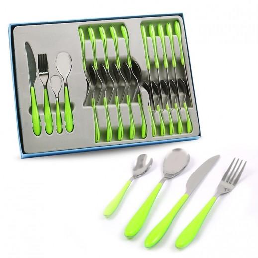 طقم أدوات المائدة استانلس استيل 24 قطعة (أخضر)