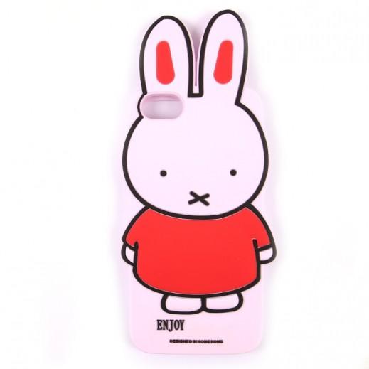 دبليو كى ديزاين – غطاء خلفي سيليكون شكل ارنب لهاتف ايفون 7 / 8  – وردي