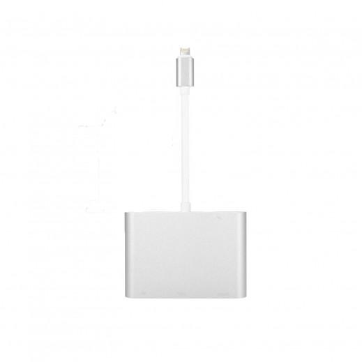 UWECAN - محول Lightning إلى HDMI و VGA و VA - فضي