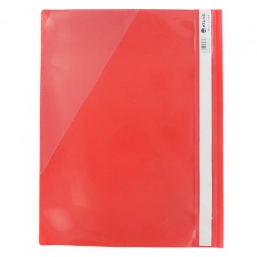 أطلس - ملف بلاستيك - أحمر