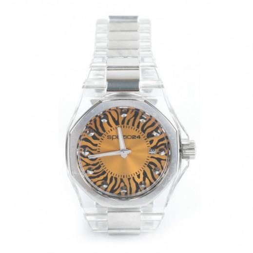 سباتسيو 24 – ساعة يد للسيدات بحزام شفاف وواجهة بلون برتقالي (L4D044/50OR)