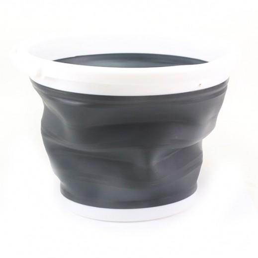 الرماية – وعاء قابل للطي بمقبض (10 لتر) – أبيض / رمادي
