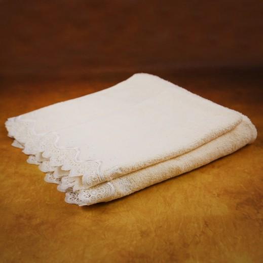 كانون - مناشف حمام مطرزة أبيض فاتح 2 قطعة - يتم التوصيل بواسطة SFC