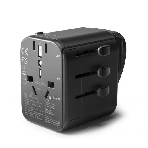 RAVPower - شاحن السفر 30 واط  4 منافذ USB - أسود