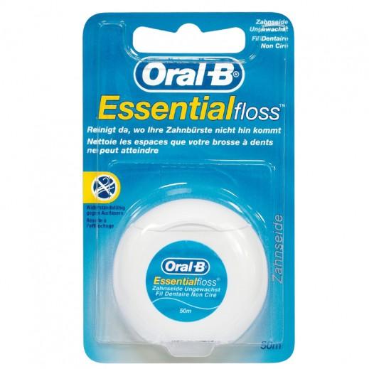 أورال بي – خيوط تنظيف الأسنان الغير مغطاة ايسينتيال فلوس 50 متر