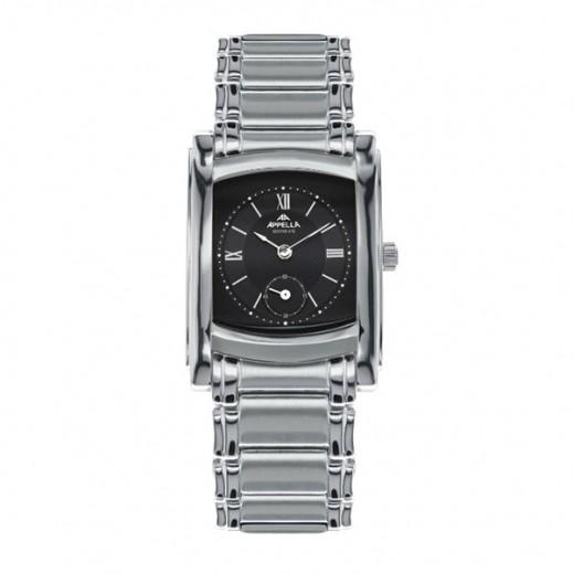 أبيلا – ساعة يد سويسرية للرجال بحزام ستانليس ستيل وواجهة سوداء (AP-4097.03.0.0.04)
