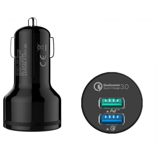 جوي رينو – شاحن سيارة ثنائي USB بقوة 3 أمبير – أسود