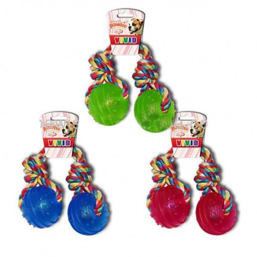 باوايز– دمية المضغ للكلاب (2 كرة مع حبل) - ألوان متعددة