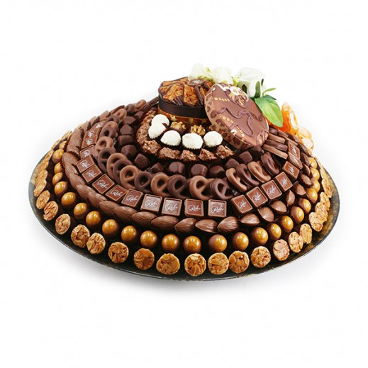طبق شوكلاتة فاخرة زجاجي كبير دائري (ذهبي)  - يتم التوصيل بواسطة Chocolates Rohr Geneve