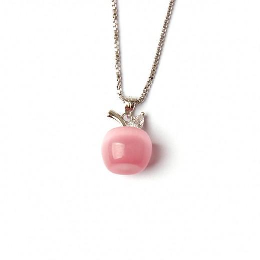 هومهل – قلادة بلاتينيوم مطلية بالفضة الخالصة يتدلى منها شكل تفاحة