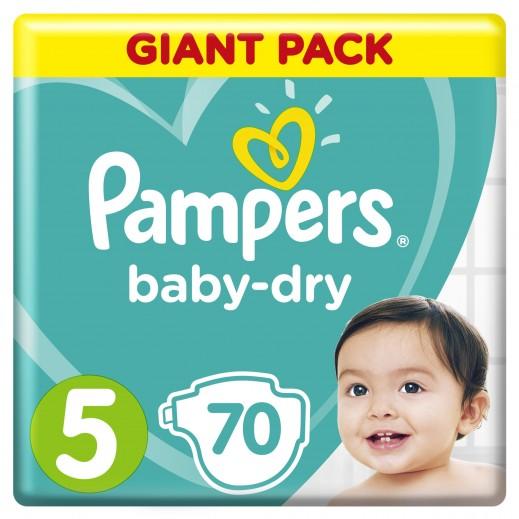 بامبرز - حفاضات Baby-Dry مقاس 5 كبير جداً 11 - 16 كجم 70 حفاضة