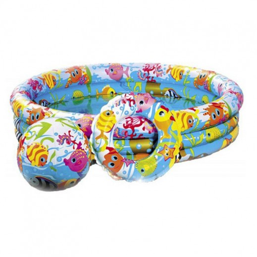 إنتكس – حمام سباحة للأطفال علي شكل حوض السمك 132 × 28 سم
