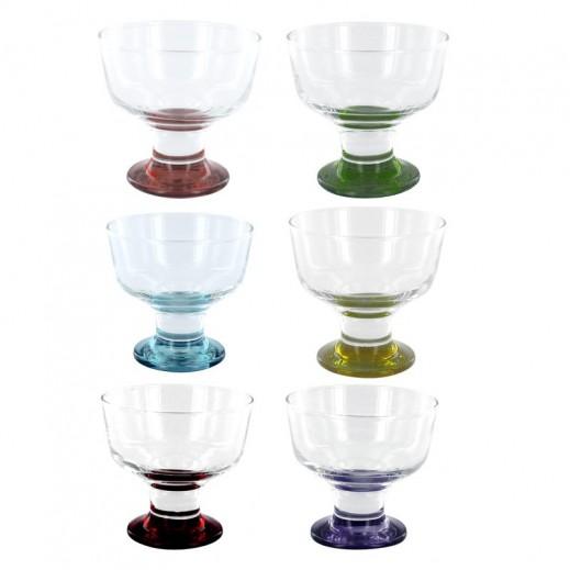 """جورالار- طقم كؤوس زجاجية ملونة للآيس كريم """"كورال""""– 6 حبة"""