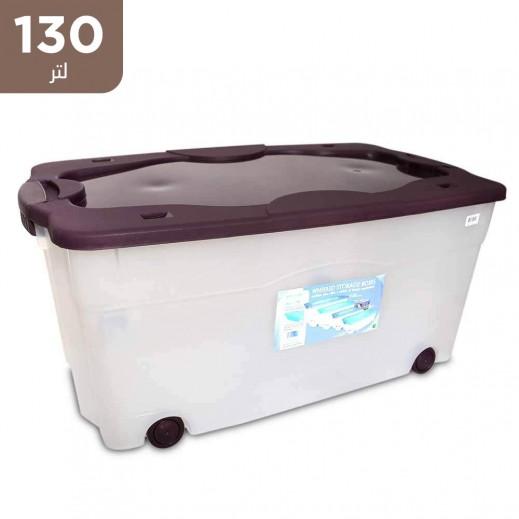 صندوق تخزين بعجلات 130 لتر - بني