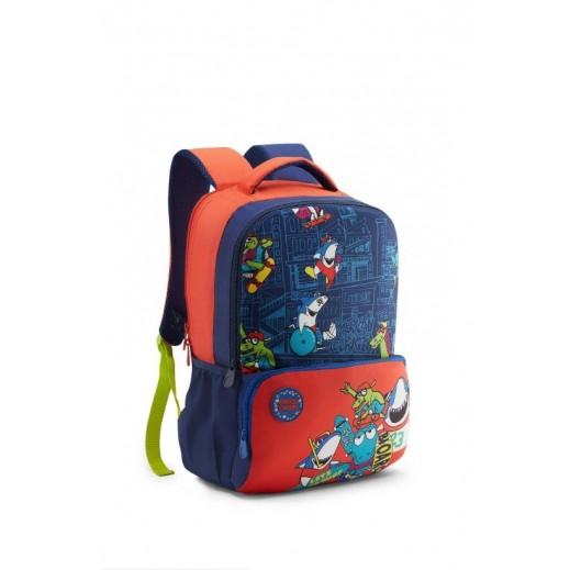 أميركان توريستر - حقيبة ظهر Diddle 02 مدرسية - أزرق وبرتقالي