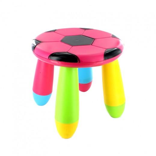 كرسي الأطفال بتصميم كرة القدم – وردي