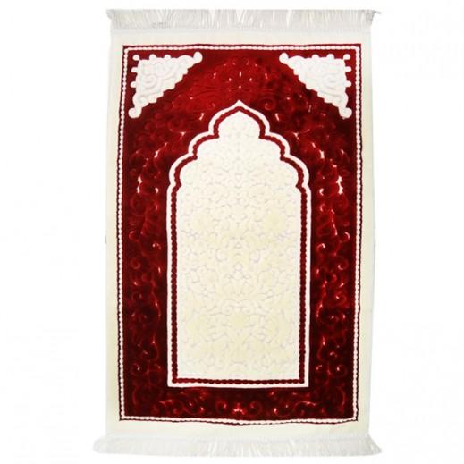 سجادة الصلاة  - عنابي كريمي