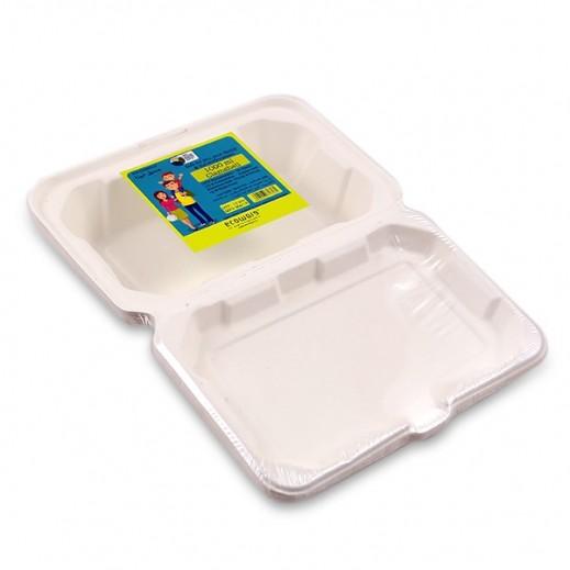 إيكووير - عبوة للطعام بغطاء قابلة للتحلل 1 لتر - 10 حبة