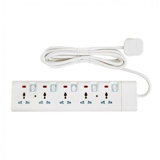 جيباس - وصلة اشتراك كهربائية 5 مخارج 3 متر 13 امبير – ابيض