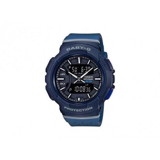 كاسيو - ساعة يد  رقمية Baby-G للسيدات بحزام راتينج - أزرق وأسود  - يتم التوصيل بواسطة Veerup General Trading
