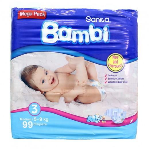 سانيتا – بامبي حفاضات أطفال مقاس (3) حجم وسط (5-9 كجم) – العبوة الضخمة - 99 حفاض