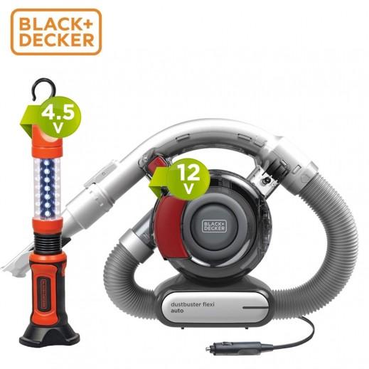 بلاك اند ديكر - مكنسة مرنة  للسيارات 12 فولت - رمادى/احمر + مصباح يدوى LED - اسود/برتقالى