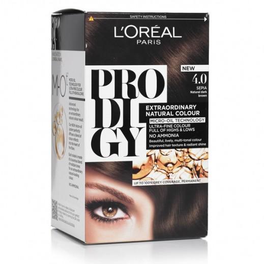"""لوريل باريس – صبغة شعر """"Prodigy"""" الطبيعية رقم 4 لون بني داكن"""