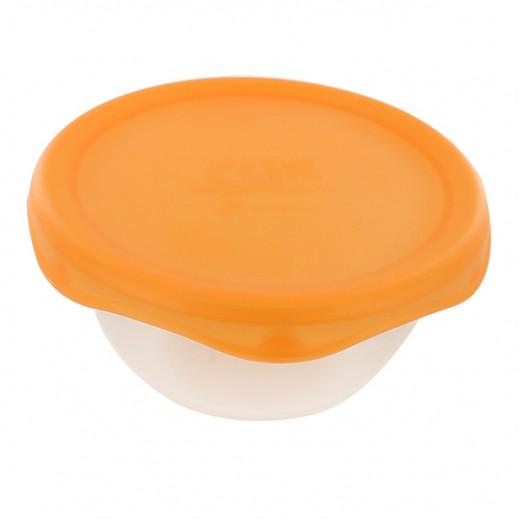 كليك بورميولي روكو - وعاء زجاجي بغطاء لحفظ الطعام قطر 12 سم - برتقالي
