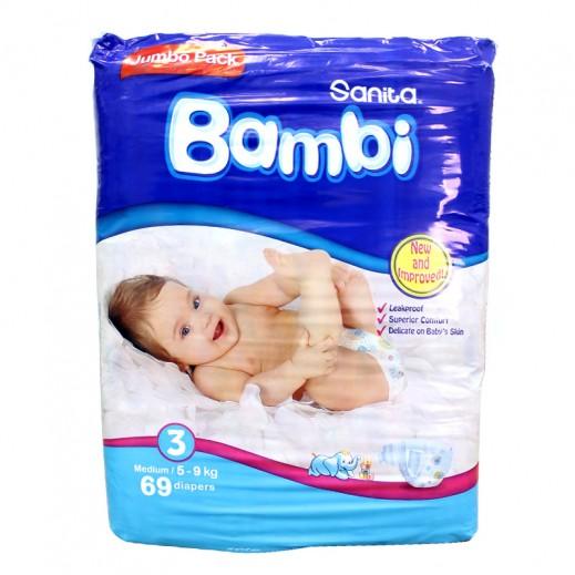 سانيتا – بامبي حفاضات أطفال مقاس (3) حجم وسط (5-9 كجم) – العبوة العملاقة - 69 حفاض