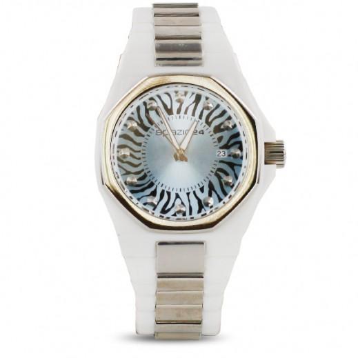 سباتسيو 24 – ساعة يد للسيدات بحزام أبيض وواجهة بلون أزرق فاتح (L4D044\52LB)