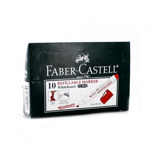 فابر كاستل – قلم السبورة البيضاء بسن دائري – أحمر (10 أقلام)