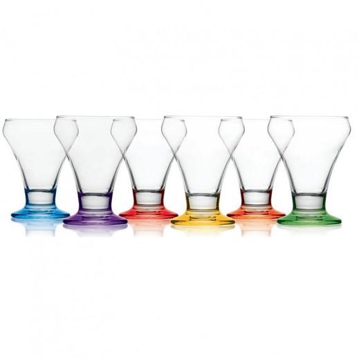 """جورالار- طقم كؤوس زجاجية ملونة للآيس كريم """"كورال"""" – 6 حبة"""