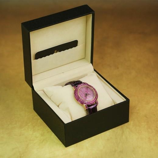 ايكون – ساعة يد للسيدات عقارب بسوار جلد بنفسجي واطار وردي