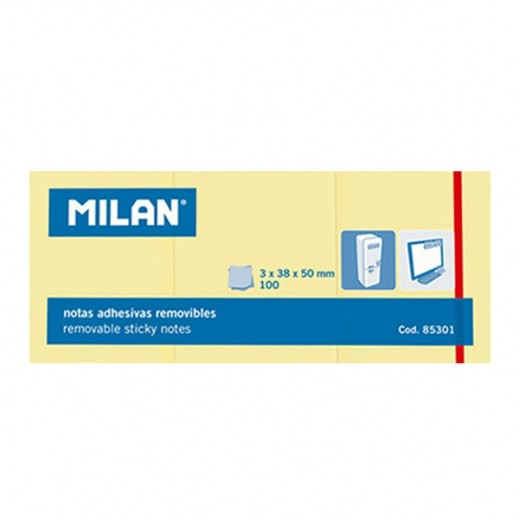ميلان – ورق لاصق 100 ورقة - أصفر - 10 حبة