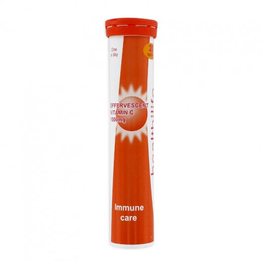 هيلث آي لايف - فيتامين سي حبوب فوار بطعم البرتقال 20 حبه 1000 ملجم