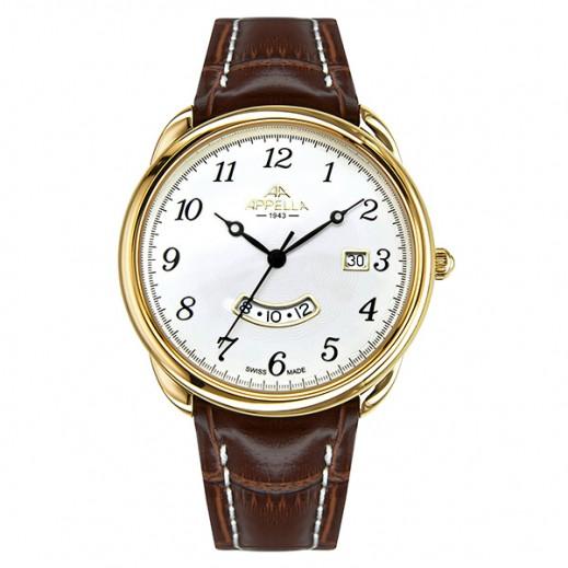 أبيلا – ساعة يد سويسرية للرجال بحزام جلدي بني وهيكل ذهبي (AP-4365.02.0.1.01)