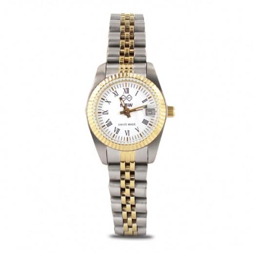 إم بي دبليو – ساعة سويسرية للسيدات بحزام ذهبي من الستانليس ستيل وأرقام رومانية