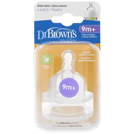 دكتور براونز – حلمة رضاعة بعنق واسع من السيليكون مستوى 4 (+9 أشهر) – 2 حبة