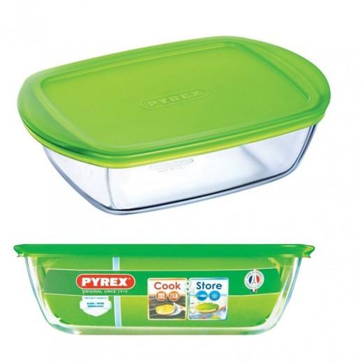 بايركس - وعاء تخزين الطعام مع غطاء 1 لتر